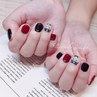 花磚很美很美 黑紅配♥️🖤 #mananails老師款  -預約制- Line🔍@sl_naileyelash(記得@) IG   🔍sunny_sl_nails FB  🔍SL. nails&eyelash美甲美睫設計   台南市東平路15號