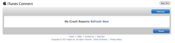 No crash report