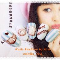 Nails fashion by Eva ♥︎ 全手繪😋🍩🍴 Line🆔:evaleezzz #bread #morning