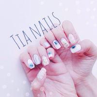藍色潑墨➕線條搭配🌻 Instagram : tianaildesign  Fb : 🔍Tia Nails